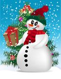 Snowman with gift Royalty Free Stock Images