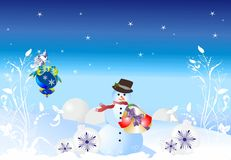 Snowman with gift, Christmas, Royalty Free Stock Photos