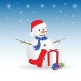 Snowman with gift color vector illustration Royalty Free Stock Photos