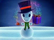Snowman with gift Stock Images