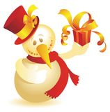Snowman with gift gold Royalty Free Stock Images