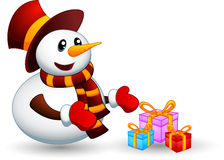 Snowman with gift Royalty Free Stock Photos