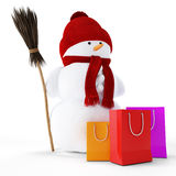 Snowman with gift package Stock Photo