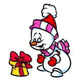 Snowman gift surprise cartoon illustration Royalty Free Stock Image