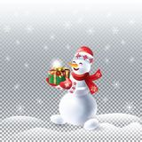 Snowman with gift Winter Holiday christmas Stock Images