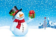 Snowman with gift for you stock illustration