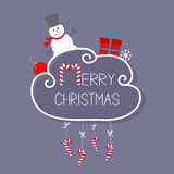 Snowman, giftbox, snowflake, ball. Merry Christmas card. Hanging Candy Cane. Stock Photography