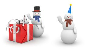 Snowman with giftbox and snowman with festive hat. New year and christmas comes. 3d illustration Stock Photo