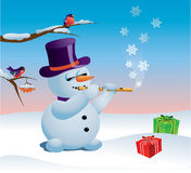 Snowman and gifts Royalty Free Stock Images