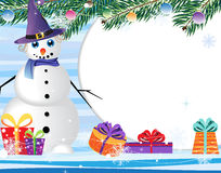 Snowman and  gifts. Stock Image