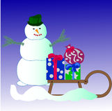 Snowman and gifts Royalty Free Stock Photography
