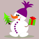 Snowman with gifts. Snowman carrying a Christmas tree and a gift vector illustration