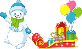 Snowman with Gifts. Snowman with Christmas gifts on a sleigh Stock Images