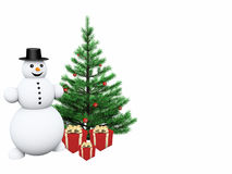 Snowman with gifts and christmas tree. Snowman with red presents and tree Stock Photo