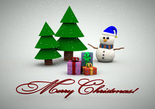 Snowman with gifts beside christmas tree. Christmas card with Christmas tree,snowman and gifts stock illustration