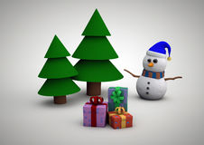 Snowman with gifts beside christmas tree. Christmas card with Christmas tree, snowman and gifts vector illustration