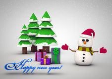Snowman with gifts beside christmas tree. Christmas card with Christmas tree,snowman and gifts royalty free illustration