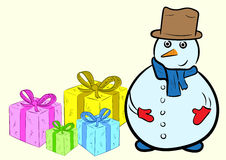 Snowman with gifts Stock Images