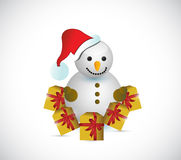 Snowman gifts illustration design Royalty Free Stock Images