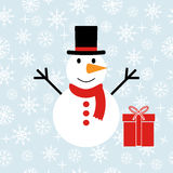 Snowman with gifts Royalty Free Stock Photo