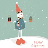 Snowman with gifts. Vector Stock Photos
