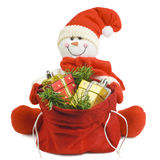 Snowman with gifts Stock Photos