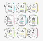Snowman, Gingerbread man and Sun icons. Waves, Gift and Free delivery signs. Opened gift, Fastpass symbols. Vector. Infographic timeline set of Snowman royalty free illustration