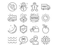 Snowman, Gingerbread man and Sun icons. Waves, Gift and Free delivery signs. Opened gift, Fastpass symbols. Vector. Set of Snowman, Gingerbread man and Sun icons royalty free illustration