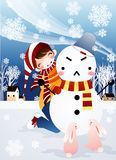 SNOWMAN AND GIRL. Stock Photo