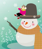 Snowman and girl. Illustration of Winter smile Snowman and girl Royalty Free Stock Images
