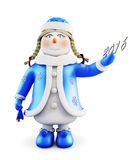 Snowman-girl  on white background. Front view. 3d. Stock Photo