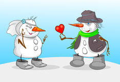 SNOWMAN AND GIRL Royalty Free Stock Image