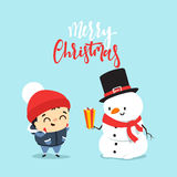 Snowman give a gift to a child, a boy. Stock Photography