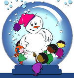 Snowman in a glass ball Stock Photo