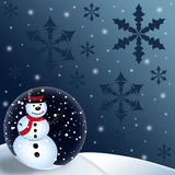 Snowman Globe Christmas Background Stock Image