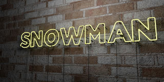 SNOWMAN - Glowing Neon Sign on stonework wall - 3D rendered royalty free stock illustration Royalty Free Stock Photos