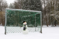 Snowman goalie Stock Photo