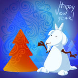 Snowman goat. With christmas tree and frozen pattern for your greeting card, eps 10 royalty free illustration