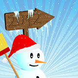 Snowman goes to 2012 Stock Photography