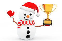 Snowman with Golden Trophy Stock Images