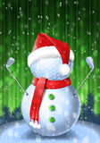 Snowman golfer with irons. In red Santa Santa hat on golf ball. Vector isolated illustration on green and blue background with snowflakes Stock Photos