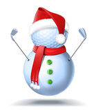 Snowman golfer with irons. In red Santa Santa hat on golf ball. Vector isolated illustration on white background Stock Image