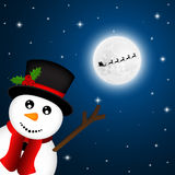 Snowman goodbye, waving Santa Claus flies reindeer Royalty Free Stock Photo