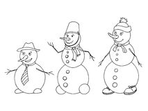 Snowman graphic art black white sketch  illustration Stock Images