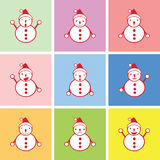 Snowman graphic in many emotions Stock Photo