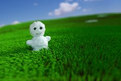 Snowman in the grass Stock Image