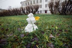 Snowman grass with yellow leaf. Funny wide angle picture. Winter is coming concept stock image