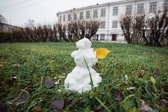 Snowman grass with yellow leaf. Funny wide angle picture. Winter is coming concept royalty free stock photo