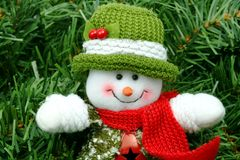 Snowman on green Stock Photo