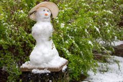 Snowman on the green background. Catalysms of nature. Spring day stock image